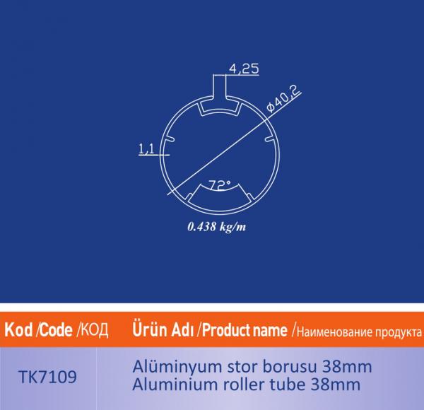 alüminyum stor borusu 38mm TK7109